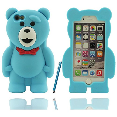 Klar modischen Design Netter Teddybär-Form Soft-Silikon-Schutzhülle case für Apple iPhone 6 / 6S Hülle 4.7 inch mit Touch-Screen-Stift blau