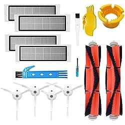 Kit d'accessoires pour XIAOMI MI Robot Pièces de rechange d'aspirateur 2 pièces Main 2 Pcs Brosse latérale 2 pièces HEPA Filtre