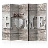 murando Raumteiler Home Holz-Optik Foto Paravent 225x172 cm beidseitig auf Vlies-Leinwand Bedruckt Trennwand Spanische Wand Sichtschutz Raumtrenner weiß beige m-A-0686-z-c