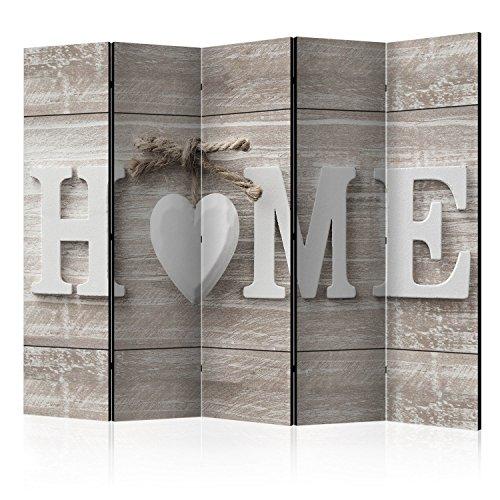 *murando Raumteiler Home Holz-Optik Foto Paravent 225×172 cm beidseitig auf Vlies-Leinwand Bedruckt Trennwand Spanische Wand Sichtschutz Raumtrenner weiß beige m-A-0686-z-c*