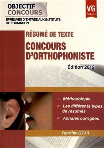 Concours d'orthophoniste : Résumé de texte par Charline Effah