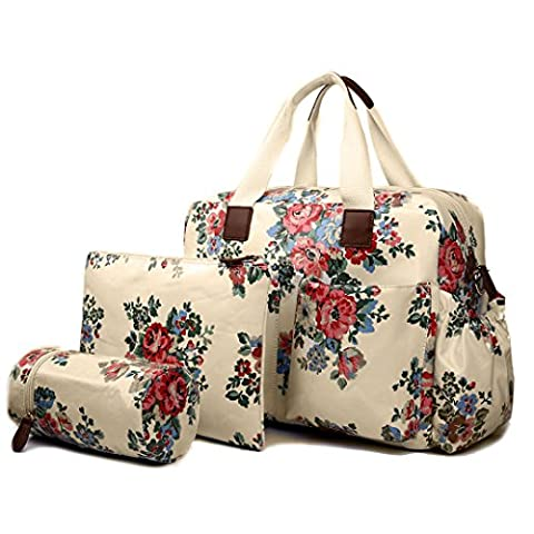 Miss Lulu Floral Printed And Polka Dots Mummy Baby Nappy Diaper Changing Maternity Bag 4pcs Set Wipe Clean Colours Optional (1501F