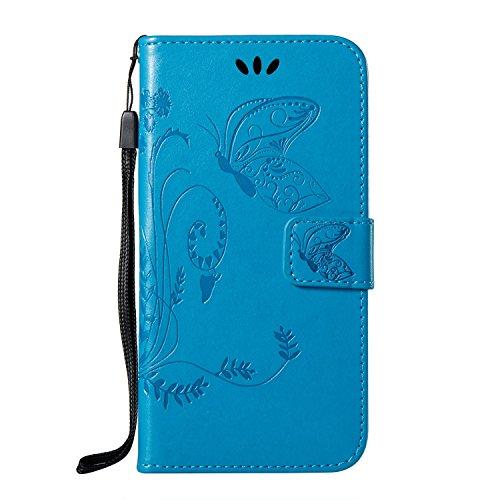 EKINHUI Case Cover Doppeltes geformtes Blumenblumen PU-lederner Mappen-Beutel-Kasten, Flipstand-schützender Fall mit innerer TPU rückseitige Abdeckung mit Lanyard u. Kickstanfd für iPhone X ( Color :  Blue