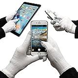 URCOVER® Guantes Táctiles para Pantalla | Touch Screen Display para Smartphone | Hombre y Mujer Talla Unica en Blanco | Unisex Especiales Invierno Aire Libre