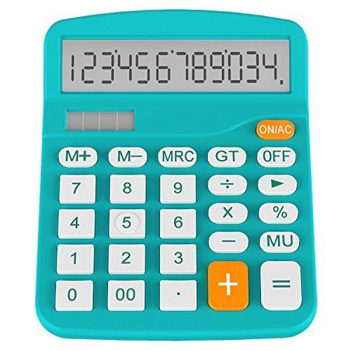 Helect Taschenrechner Standard Tischrechner 12-stelliger Dual-Power (Solar und Batterie) (Blau)