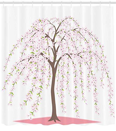 AdaCrazy Tradizionale Giapponese Sakura Tree Burst in Fiori Oriental, Fiore piangente Tenda da Doccia, Tessuto di Stoffa Arredo Bagno con Ganci, Taupe Pink