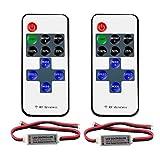 VIPMOON 2 Pack Telecomando RF wireless a 11 tasti con connettore CC per luci monocromatiche a LED 3528 5050