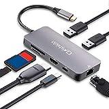 Adaptateur USB C Onshida Hub USB C 7 en 1 vers HDMI 4K, Port Ethernet RJ45, Port Type C PD, 2 x USB 3.0 et Lecteur de Carte SD/TF, Compatible avec MacBook, Google ChromeBook et Portables Windows USB C