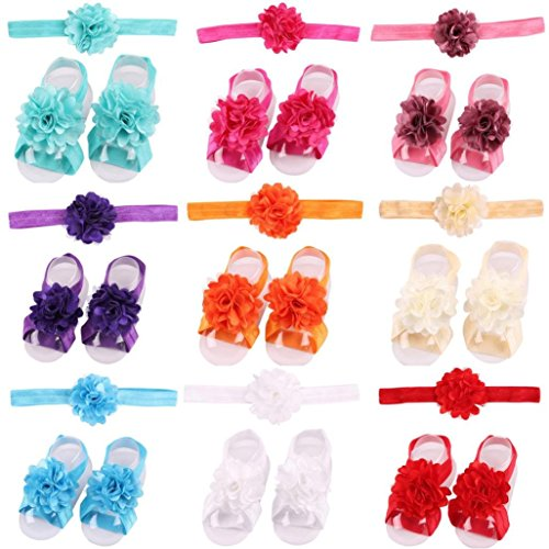 Ouneed® 1 set Bebe Toddler Chaussures Ete sansales Floral en Dentelle + Bandeau