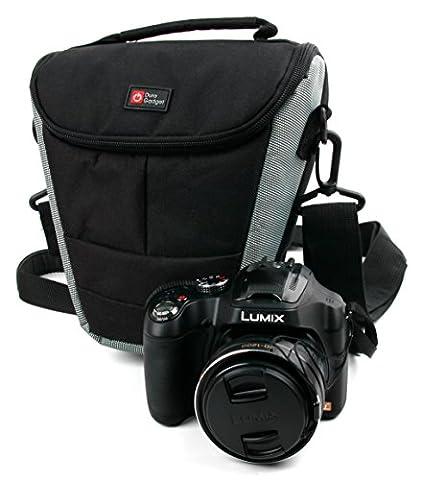 Housse étui Nylon de protection moyen pour appareil photo Panasonic Lumix DMC-FZ72 et DMC-LZ30E - avec poignée et passant de ceinture