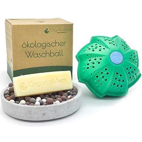 OrganicMom® Öko-Waschball [Inkl. vegane Seife] / KEINE CHEMIE! / Nachhaltige Waschkugel/Waschen ohne Waschmittel/Für Kinder & Allergiker geeignet/BPA Frei/Antibakteriell