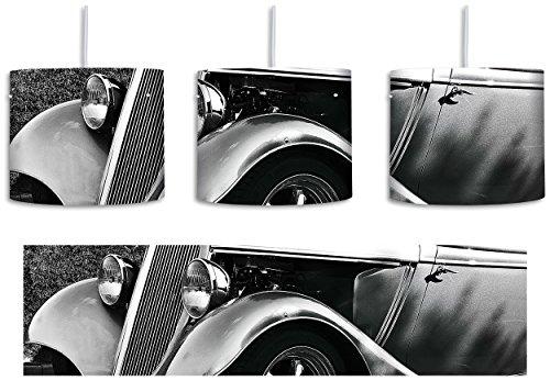 Luxus Schwarz weiß Oldtimer inkl. Lampenfassung E27, Lampe mit Motivdruck, tolle Deckenlampe, Hängelampe, Pendelleuchte - Durchmesser 30cm - Dekoration mit Licht ideal für Wohnzimmer, Kinderzimmer, Schlafzimmer