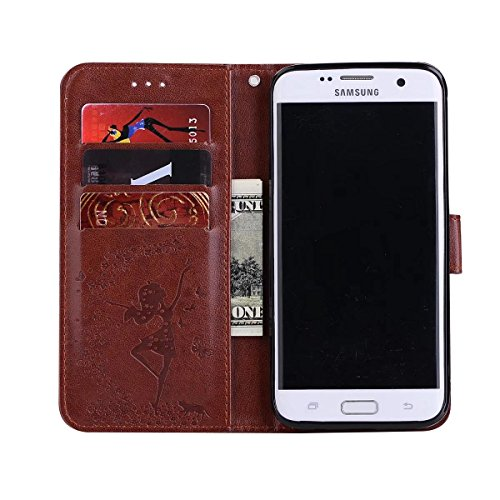 Abnehmbare 2 in 1 Crazy Horse Texture PU Ledertasche, Fairy Girl Embossed Pattern Flip Stand Case Tasche mit Lanyard & Card Cash Slots für Samsung Galaxy S7 ( Color : Rosegold ) Brown