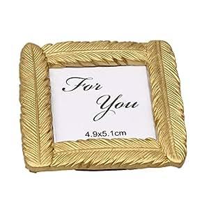Nouveauté Plume D'or Petit Cadre Photo de Table en Résine Cadeau de Fête Mariage