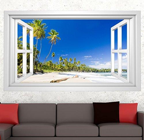 3D Wandmotiv Strand Sand Urlaub Wasser Meer Palme Fenster Wandbild Wandsticker Wandtattoo Wand Aufkleber 11E362, Wandbild Größe E:ca. 168cmx98cm (Fenster Aufkleber Palmen)