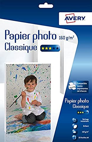 Avery 50 Feuilles de Papier Photo 160g/m² A4 - Impression Jet d'Encre - Brillant - Blanc (C9431)