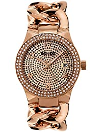 SO & CO New York para mujer reloj de cuarzo con diseno de rayas de oro rosa y cristales esfera analogica y correa de acero inoxidable de oro rosa y cristales 5083,3