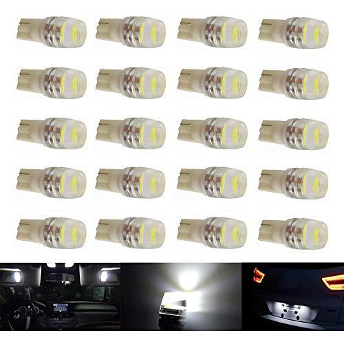 TKD T10 501 Bombillas LED, W5W 194 168 2825 T10 Reemplazo LED para luces interiores de coche, bombillas laterales, bombillas de matrícula,indicador de marcador lateral 6500K blanco (Pack de 20)
