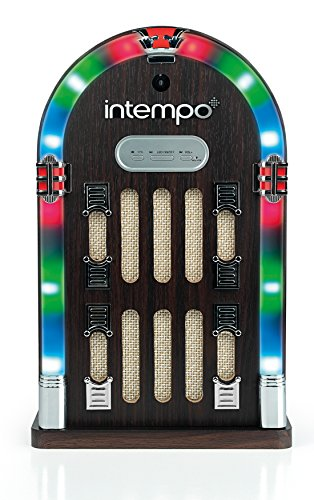 Intempo EE1269BRN Mini Jukebox with Bluetooth and LED lights, Brown