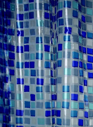 Blue Canyon PVC Shower Curtain Mosaic Design, Blue