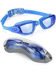 Aegend verspiegelt Schwimmbrille kein Auslaufen Anti Nebel UV-Schutz Triathlon Schwimmbrille verspiegelt beschichtet mit frei Schutz Fall f¨¹r Erwachsene Herren Frauen Youth Kinder Kind, schwarz & blau
