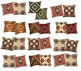 iinfinize Lot de 9 taies d'oreiller en Jute taie d'oreiller Motif Kilim Vintage 45,7 x 45,7 cm taie d'oreiller Faite à la Main