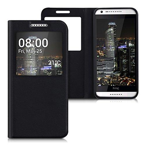 kwmobile Custodia flip case per HTC Desire 620G con finestra - Custodia protettiva richiudibile in ecopelle in stile Flip Cover in nero
