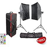 PIXAPRO® LED100D MKII Twin Softbox Kit with Stands and Roller Case Daylight LED Continuous Studio Video Interview Film Light Bowens S-Type Fit Remote Dimmable Video Continuous Constant Light Green Screen Film Marketing Movie Lighting Still Life Portrait (Improved Colour) CRI>94 *2 Year UK Warranty *Fast Delivery *UK Stock *VAT Registered … (Twin Kit, With Roller Case & Softbox)