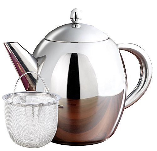 Rosenstein & Söhne Tee-Kanne mit Teefilter: Edelstahl-Teekanne mit Siebeinsatz, 0,5 Liter, spülmaschinenfest (Tee-Kanne mit Edelstahl-Teesieb)