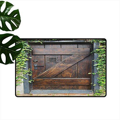 RenteriaDecor Teppich, rustikal, maschinenwaschbar, klein, spanischer Stil, dunkel gebeiztes Holz, Tür geheime Garten, mit Gitterfenster, Fußmatte für Kinderzimmer 24