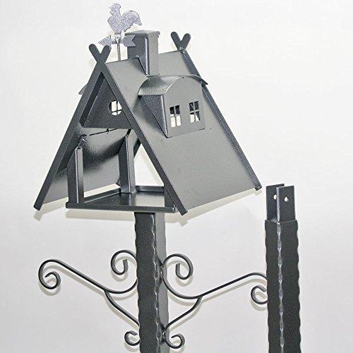 Vogelhaus XXL mit Ständer aus Metall (Farbe: silber-antik)