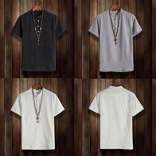8aaaa9e072a7 Homebaby Lino Cotone Estivi Maglietta Manica Corta Uomo Classic Casual T-Shirt  Sportivi Vintage - Camicia Elegante ...