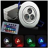 3 piezas RGB 1W colores mando a distancia color LED techo luz Spotlight-regulable-150Lm-60 grado-AC85-265
