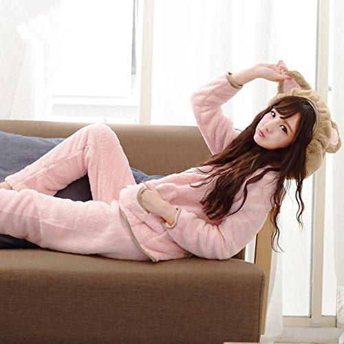 DMMSS Lady Coral Velvet Pyjamas Set Automne Et Hiver 2 - Pièce Mignon Costume De Maison À Capuchon Pink
