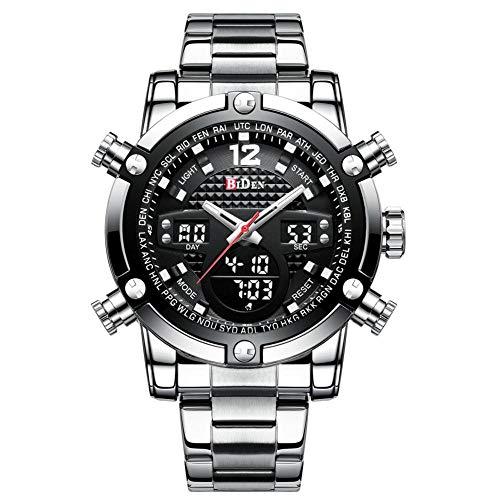 Dilwe Herrenuhr, Qualität Doppelte Bewegungen Wasserdichte Armbanduhr mit einstellbarem verschleißfesten Edelstahlband