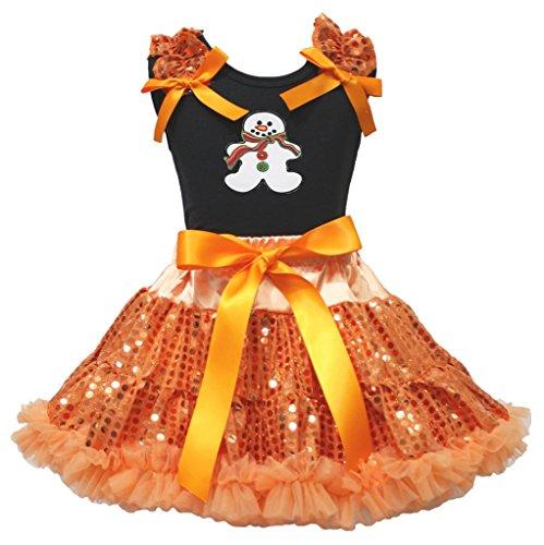 Weihnachten Kleid Lebkuchenmann schwarz Shirt Orange Pailletten Rock Girl Outfit-74bis 122 Gr. XL, Orange/Schwarz
