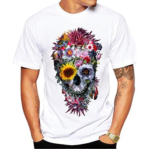 Hombres Camisetas Voodoo Skull Design Manga Corta Tops Casuales Hipster  Flower Skull Camiseta Impresa Cool tee 7f51879692bb