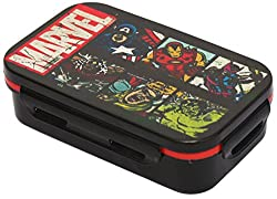 Marvel Avengers Plastic Lunch Box Set, 3-Pieces, Multicolour (HMRPLB 73270-AV)