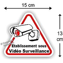 """Sticker Autocollant """" Etablissement sous Vidéo Surveillance """" 15 cm"""