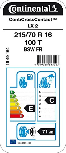 CONTINENTAL ContiCrossContact LX 2-215/70/16 100T - E/C/71dB - Pneu Toutes Saisons (SUV et 4X4)