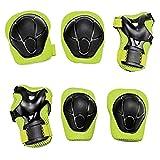 Yakamoz Attrezzatura protettiva per lo sport, para-polsi, gomitiere, ginocchiere da skateboard, set protettivo per ginocchia, gomiti e polsi, attrezzatura per bambini per bicicletta, BMX, skateboard, 6pz, colore verde