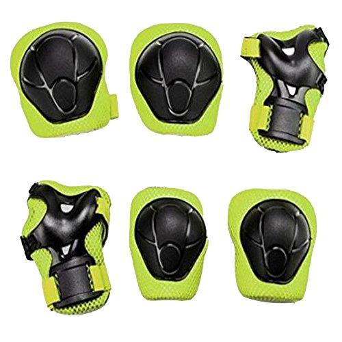 Yakamoz Schutzausrüstung der Sports protège-paume Ellenbogenbandage Kniebandage Skateboard-Pad-Sicherheit Backup (Knie Ellenbogen Handgelenk) Support Pad Ausrüstung für die Kinder der Fahrrad Rolle-Fahrrad BMX Fahrrad Skateboard inkl. Pads Wachen (6PCS grün), A (Pad Kit Knie)