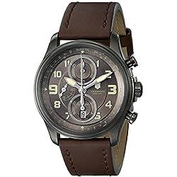 Swiss Army Victorinox Infantry 241520 44mm Stainless Steel Case Brown Calfskin Anti-Reflective Sapphire Men's Watch