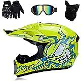 TKUI Motos Motocross Cascos y Guantes y Gafas estándar para niños ATV Quad Bicicleta go Casco de Kart,S(52~53cm)