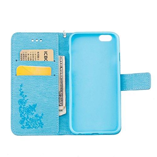 SZHTSWU Hülle für Apple iPhone 6 Plus / iPhone 6s Plus, Magnetverschluss Blumen Schmetterling Series Muster mit Lanyard Strap Design PU Leder Tasche Weiche Silikon Schutzhülle Hülle Hülle Flip Wallet  Blau