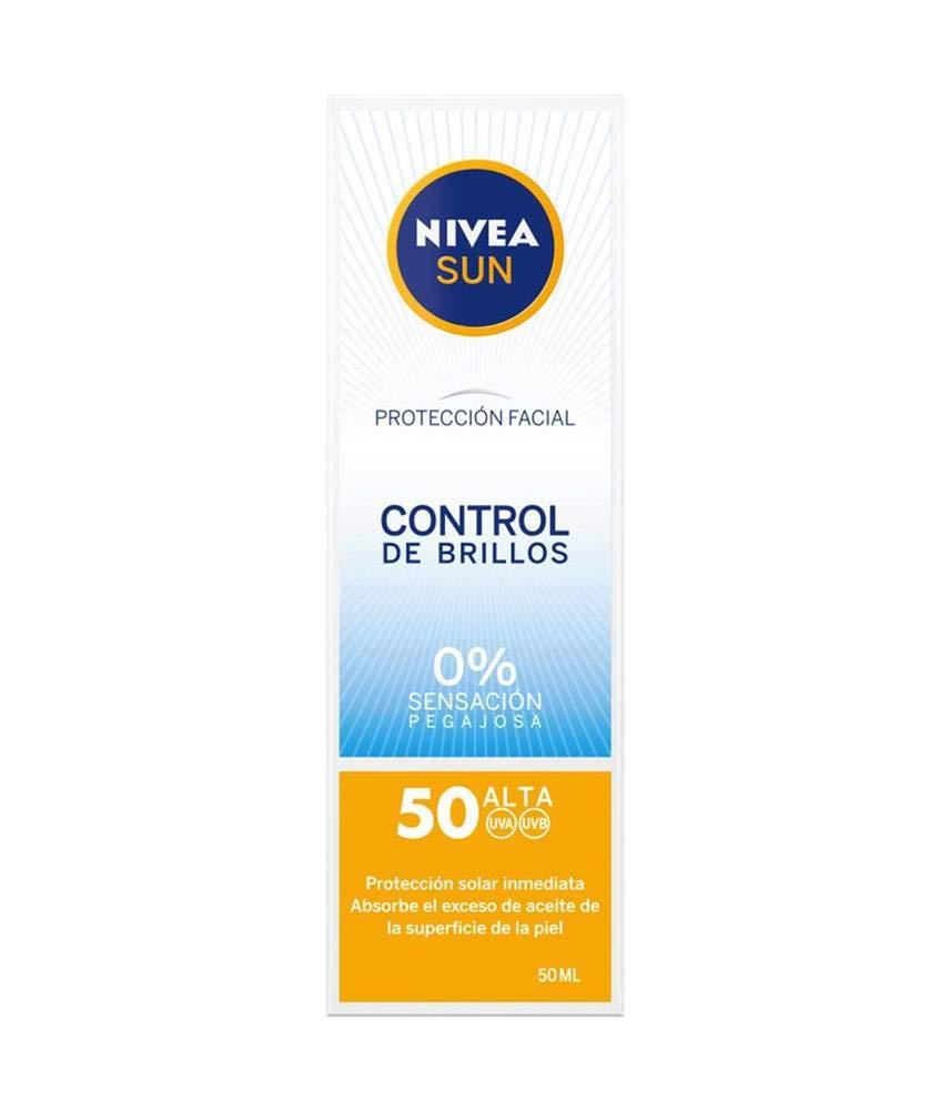 NIVEA SUN Protección Facial UV Control de Brillos FP50 (1 x 50 ml), crema solar facial, crema matificante con protección…