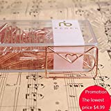 10pcs/pkg electroplating luxury rose gold paper clip creative  kawaii Love mail clips cute bookmark diary decoration