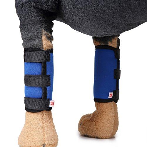 SELMAI Hunde Bein Schützt Hock Wickeln für Vorderbein Extra Unterstützende Schützt Wunden Bandage Helfen Stabilität Verstauchungen Arthritis 1 Paar Blau Größe S -