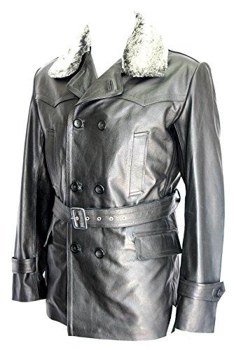 Dr Who cuello de piel Barco Hombres camiseta clásica T alemán estilo militar longitud de la rodilla negro Real Hide capa de cuero