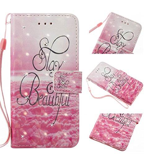 iPhone 6s Plus Custodia, Copertura iPhone 6S Plus/6 Plus, | PU Portafoglio in pelle Progettato case di Slot per schede stare | | Diamanti Bling rosa | Polvere di scorrimento antigraffio Cover rosa 2